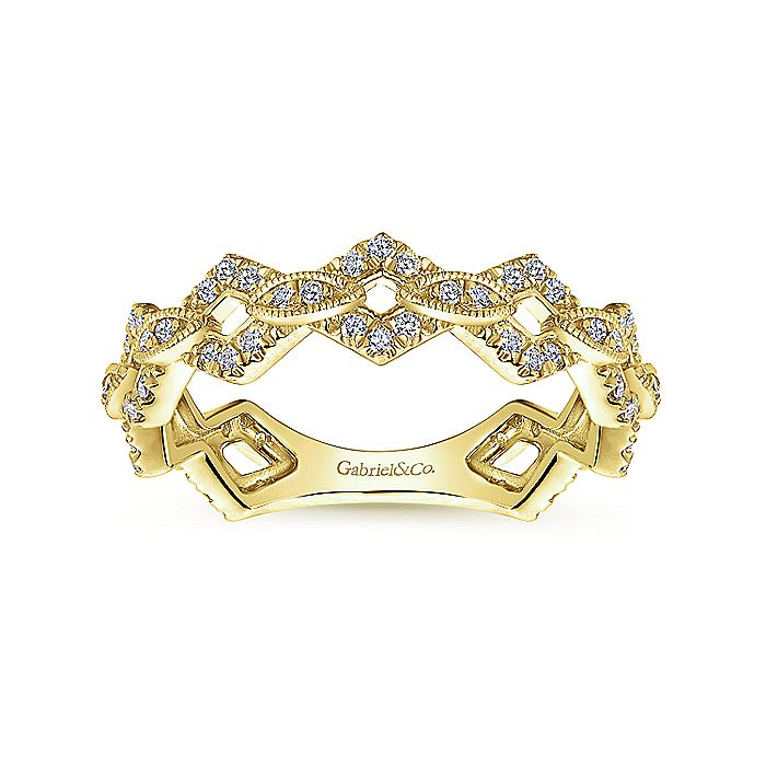 14K Yellow Gold Diamond Link and Bar Stackable Ring