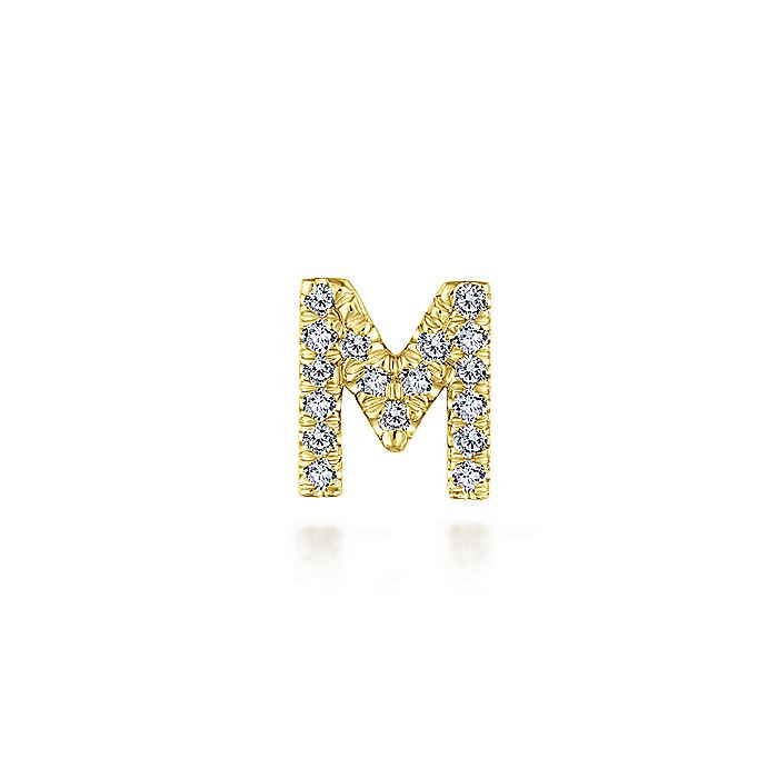 14K Yellow Gold Diamond M Pendant
