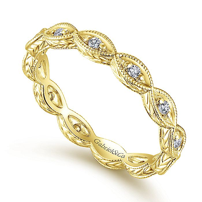 14K Yellow Gold Diamond Marquise Station Eternity Ring