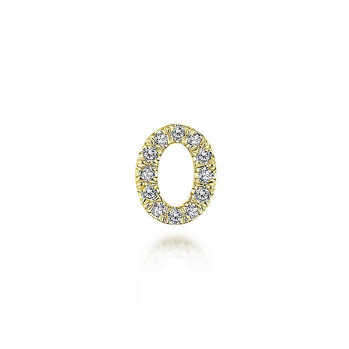 14K Yellow Gold Diamond O Pendant