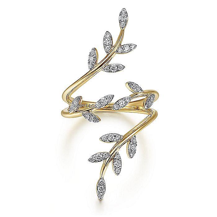 14K Yellow Gold Diamond Pavé Branch Wrap Ring