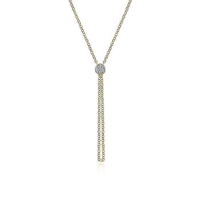 14K Yellow Gold Diamond Pavé Circle Pendant Necklace with Chain Drop