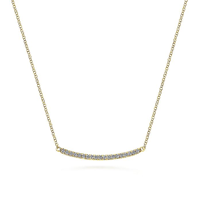 14K Yellow Gold Diamond Pavé Curved Bar Necklace