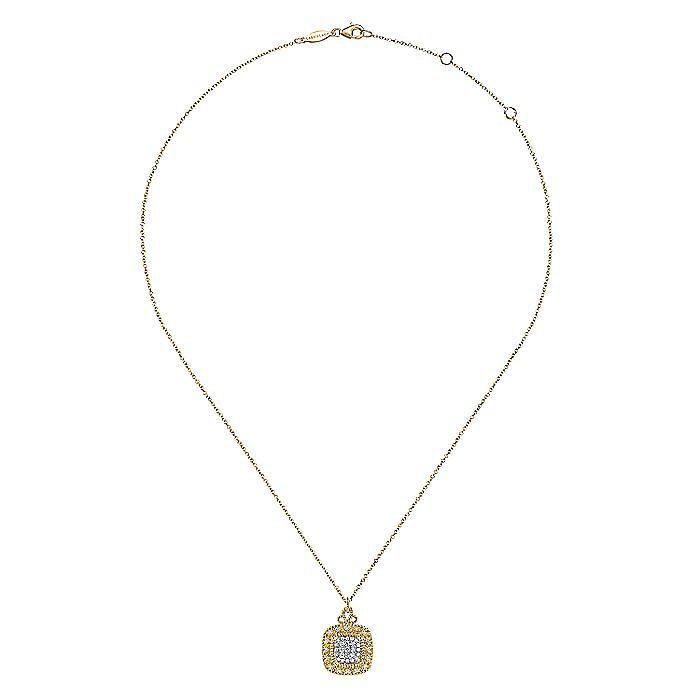 14K Yellow Gold Diamond Pavé Cushion Shape Pendant Necklace