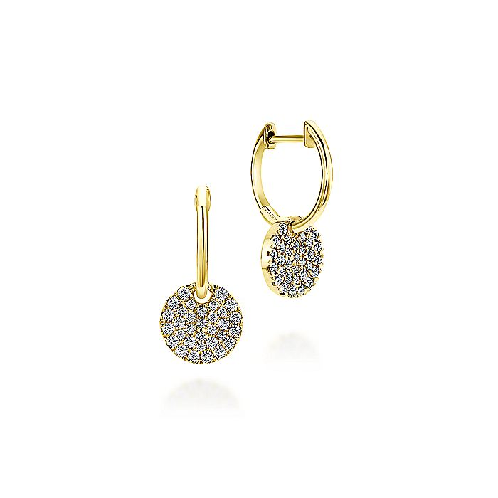 14K Yellow Gold Diamond Pavé Disc Drop Earrings