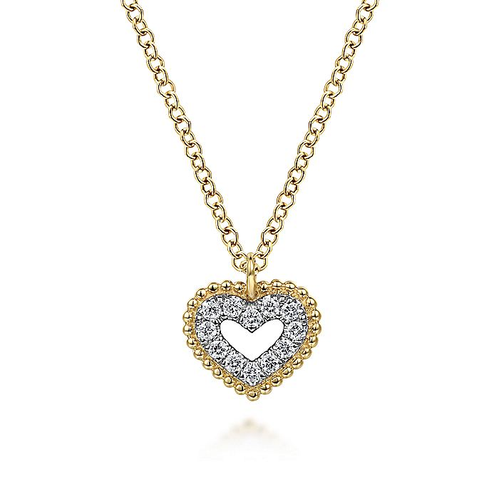 14K Yellow Gold Diamond Pavé Heart Pendant Necklace with Bujukan Bead Frame
