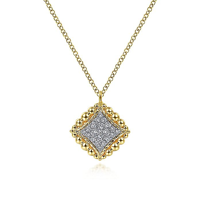 14K Yellow Gold Diamond Pavé Pendant Necklace with Beaded Frame