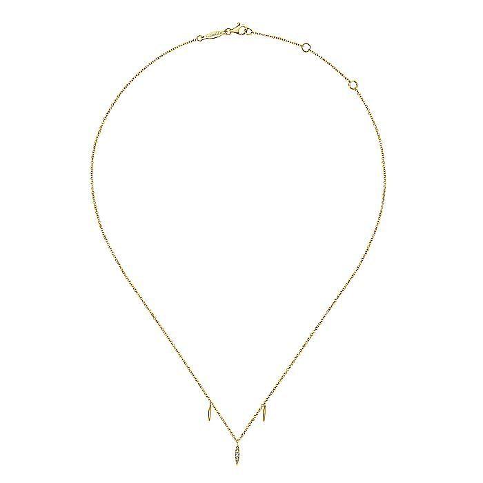 14K Yellow Gold Diamond Pavé Spear Drop Necklace
