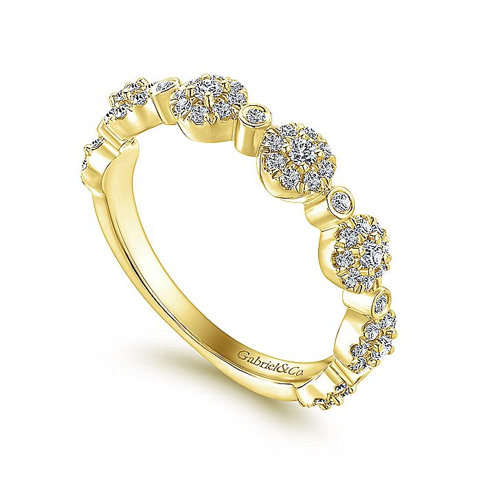 14K Yellow Gold Diamond Pavé Station Stackable Ring