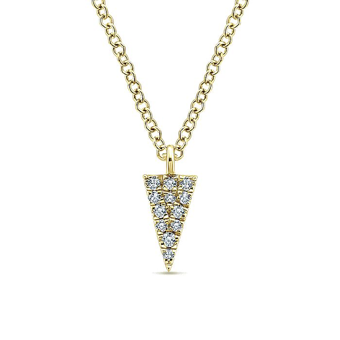 14K Yellow Gold Diamond Pavé Triangle Pendant Necklace