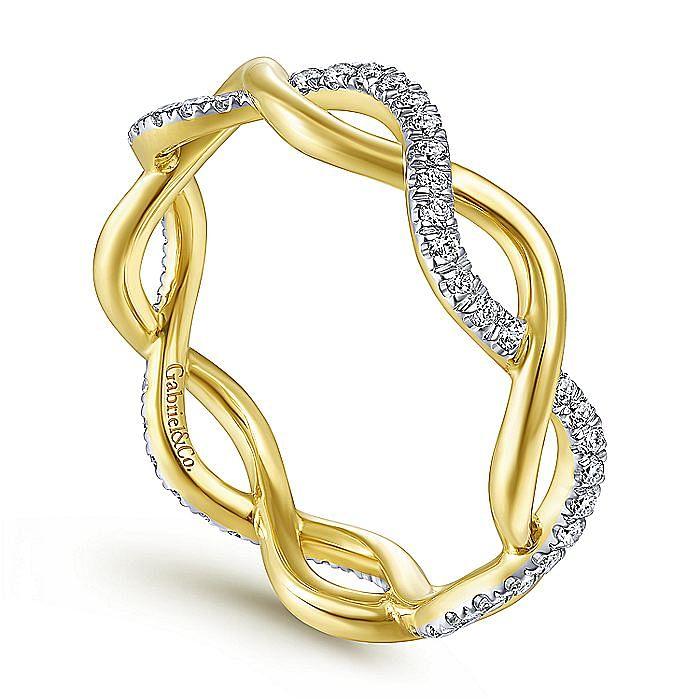 14K Yellow Gold Diamond Pavé Twisting Eternity Ring