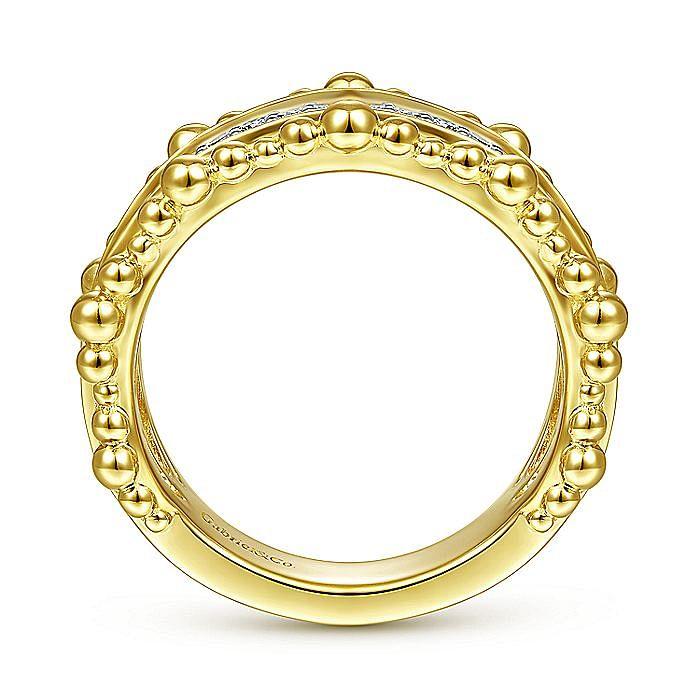 14K Yellow Gold Diamond Pave Center Ring with Bujukan Bead Border