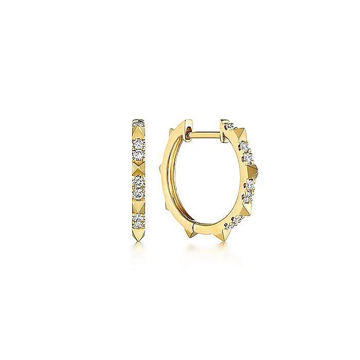14K Yellow Gold Diamond Pyramid Spike 15mm Huggie Earrings