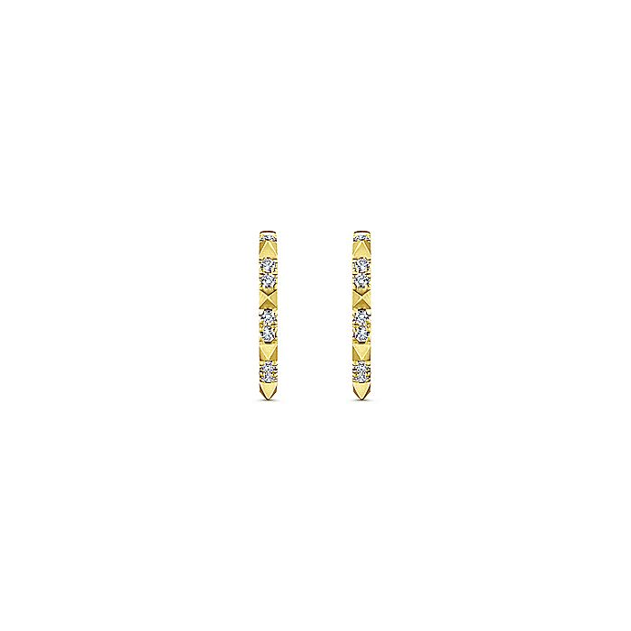 14K Yellow Gold Diamond Pyramid Spike 15mm Huggie Earrings