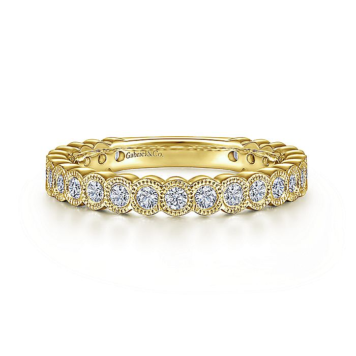 14K Yellow Gold Diamond Ring with Millgrain Bezel