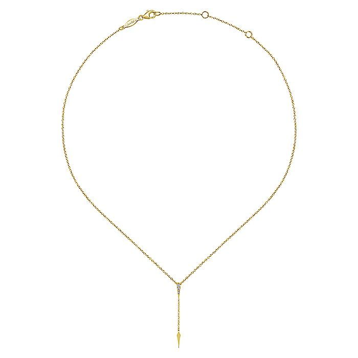 14K Yellow Gold Diamond Spike Y Knot Pendant Necklace