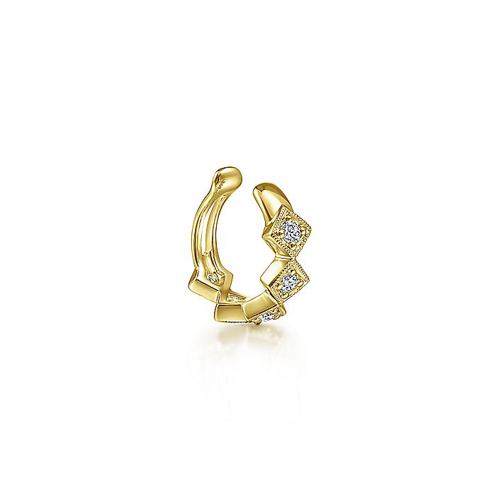 14K Yellow Gold Diamond Square Earcuff Earring