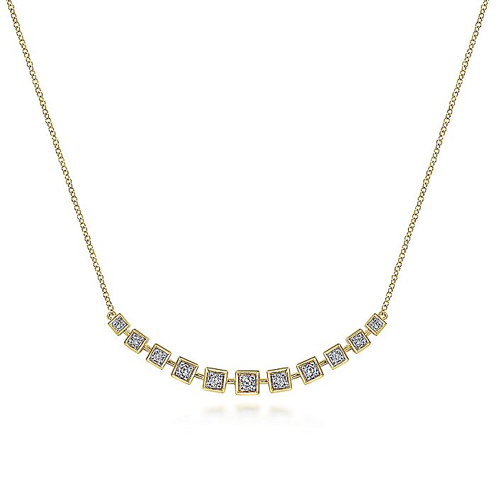 14K Yellow Gold Diamond Squares Necklace