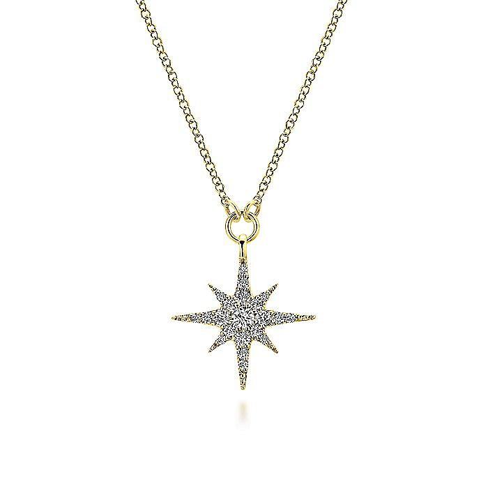 14K Yellow Gold Diamond Starburst Pendant Necklace