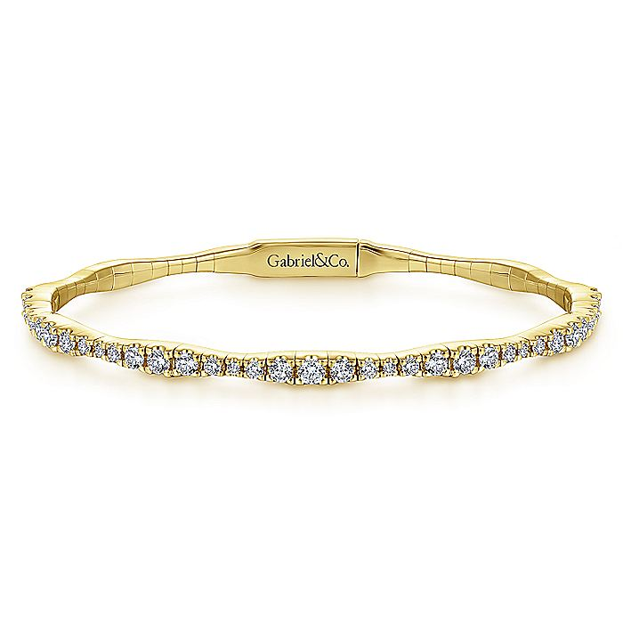 14K Yellow Gold Diamond Station Bangle