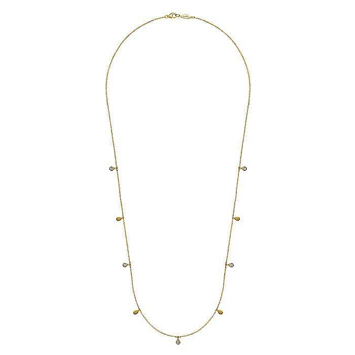 14K Yellow Gold Diamond Teardrop Station Necklace