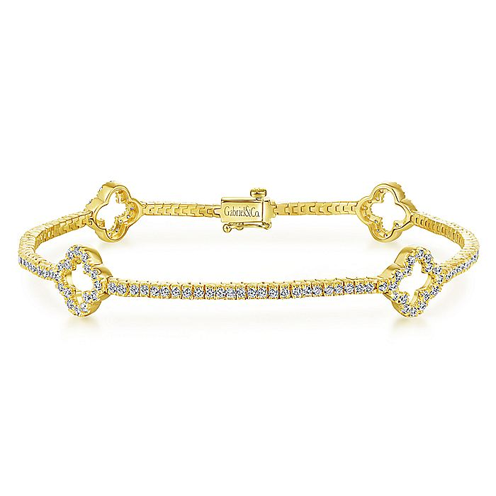 14K Yellow Gold Diamond Tennis Bracelet with Clover Stations