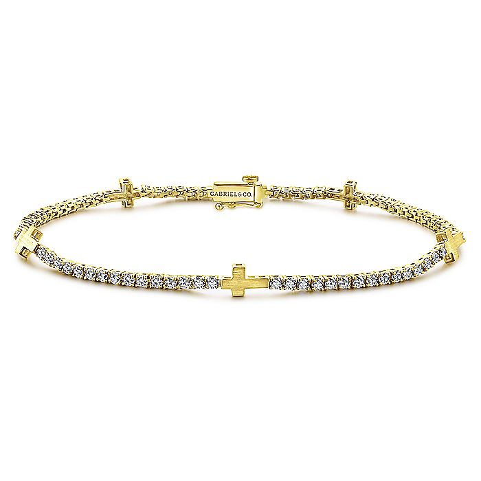 14K Yellow Gold Diamond Tennis Bracelet with Cross Stations