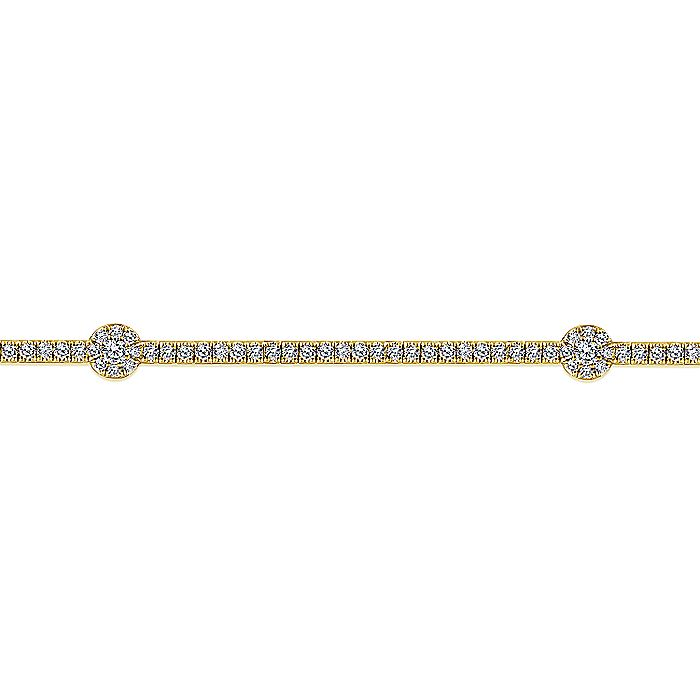 14K Yellow Gold Diamond Tennis Bracelet with Round Cluster Stations