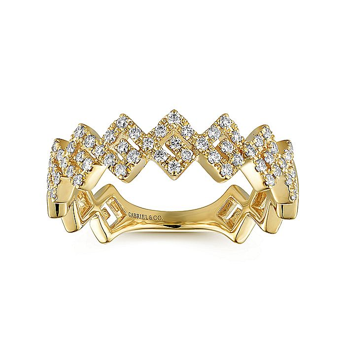 14K Yellow Gold Diamond Zig Zag Stackable Ring