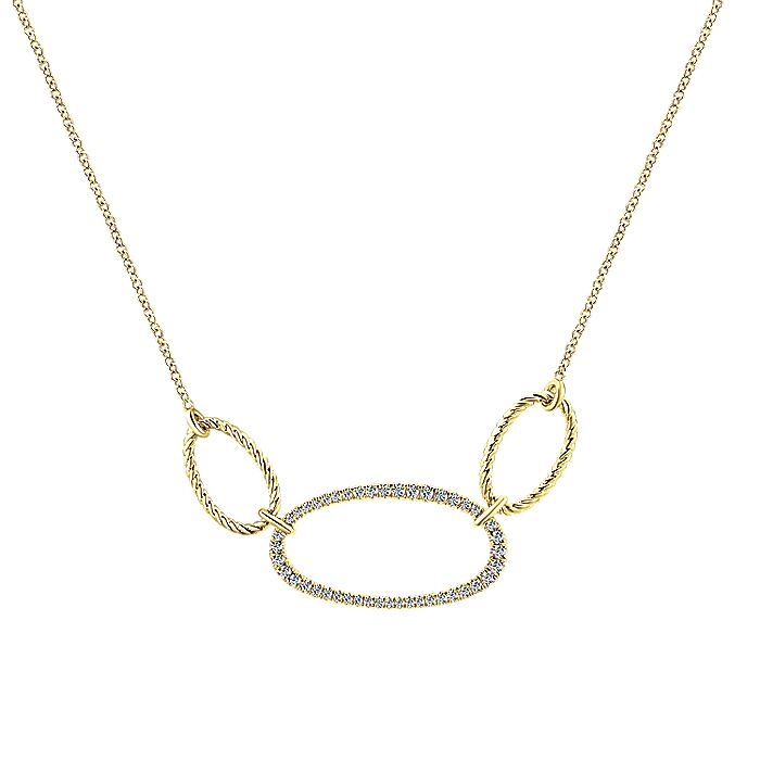 14K Yellow Gold Diamond and Twisted Rope Oval Stations Necklace