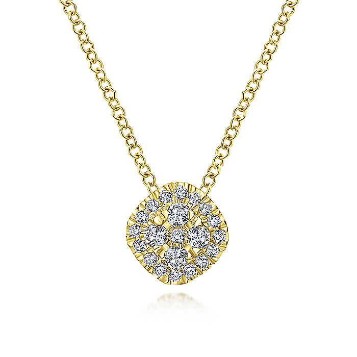 14K Yellow Gold Diamond pave Cushion Pendant Necklace