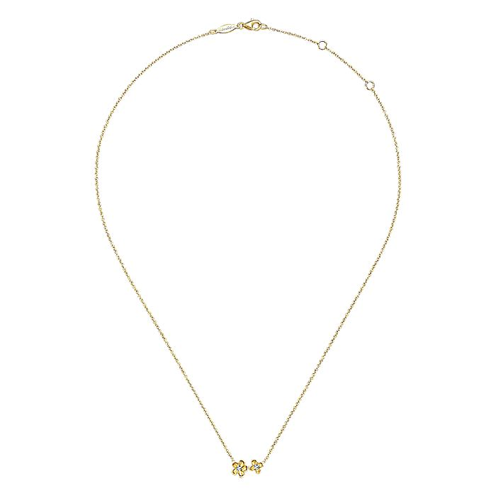 14K Yellow Gold Double Flower Diamond Necklace