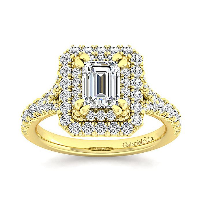 14K Yellow Gold Double Halo Emerald Cut Diamond Engagement Ring