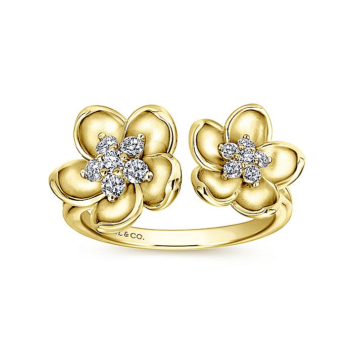14K Yellow Gold Double Open Floral Diamond Ring