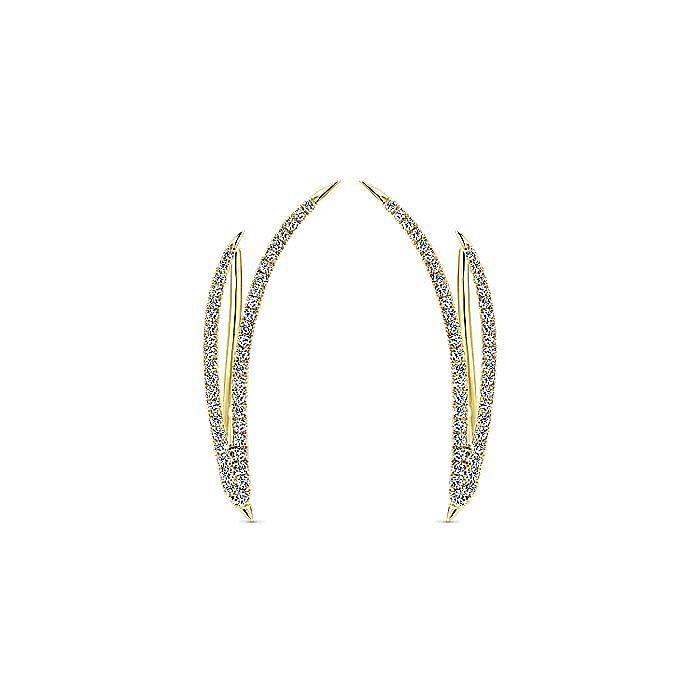 14K Yellow Gold Dual Strand Diamond Ear Climber Earrings