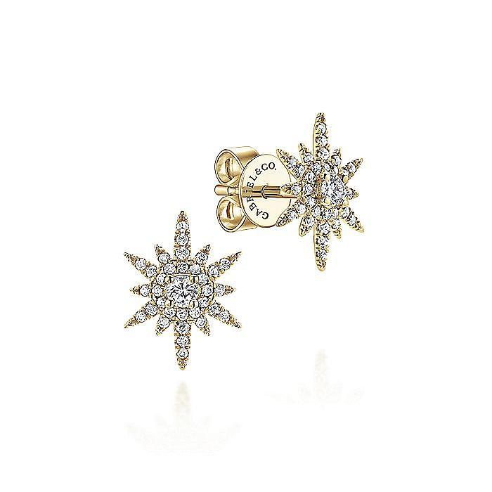 14K Yellow Gold Elongated Diamond Starburst Earrings