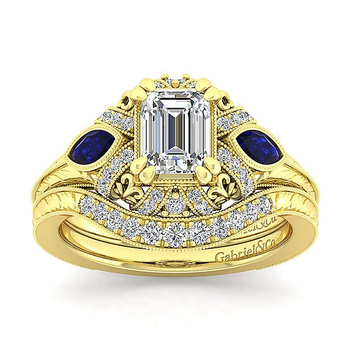 14K Yellow Gold Emerald Cut Sapphire and Diamond Engagement Ring