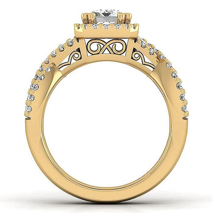 14K Yellow Gold Emerald Halo Diamond Engagement Ring