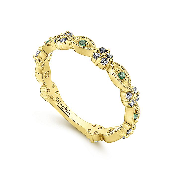 14K Yellow Gold Emerald and Diamond Alternating Station Stackable Ring