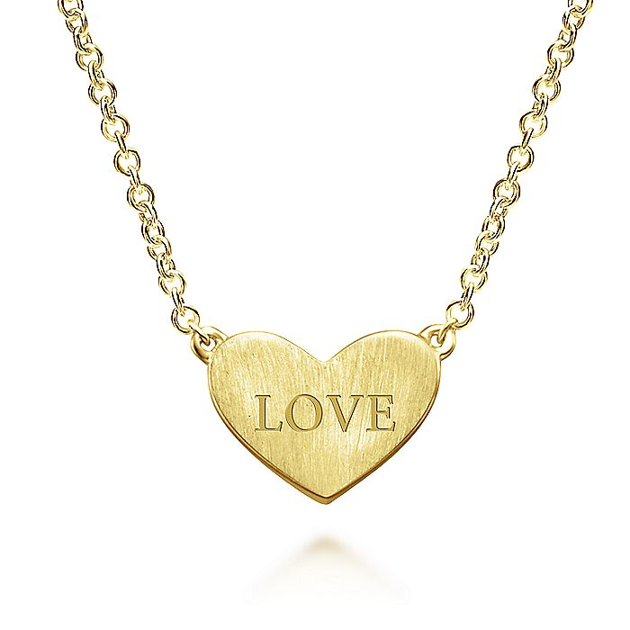 14K Yellow Gold Engravable Heart Pendant Necklace with Diamond Accent