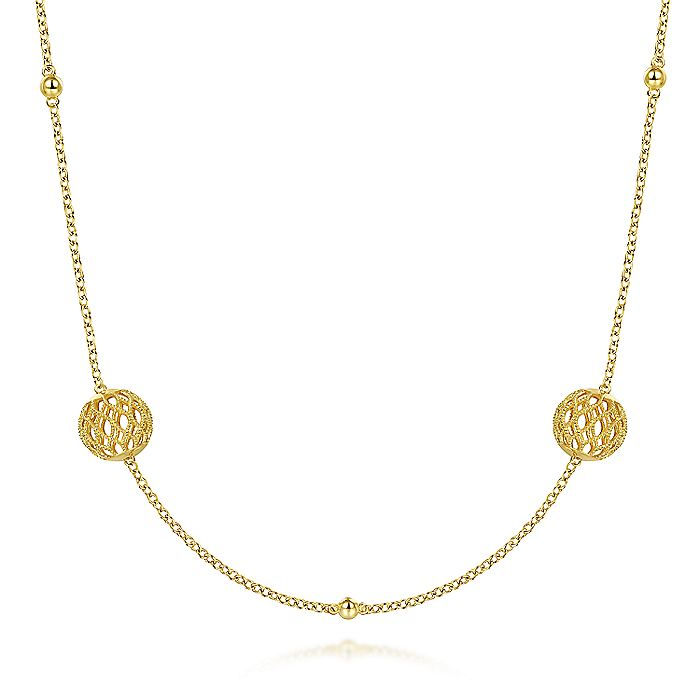14K Yellow Gold Filigree Ball Station Necklace