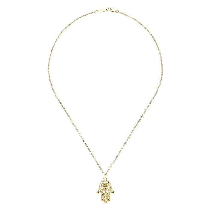 14K Yellow Gold Filigree Diamond Hamsa Pendant Necklace