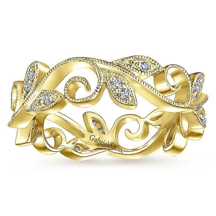14K Yellow Gold Floral Branch Diamond Eternity Ring
