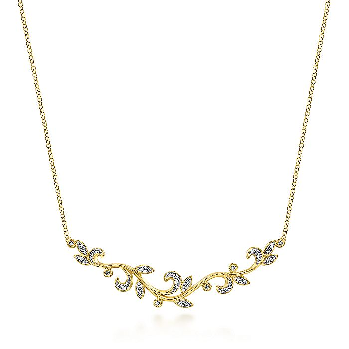 14K Yellow Gold Floral Branch Diamond Necklace