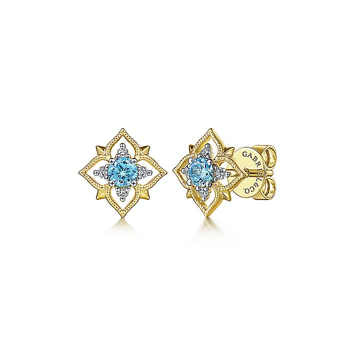 14K Yellow Gold Floral Swiss Blue Topaz and Diamond Stud Earrings