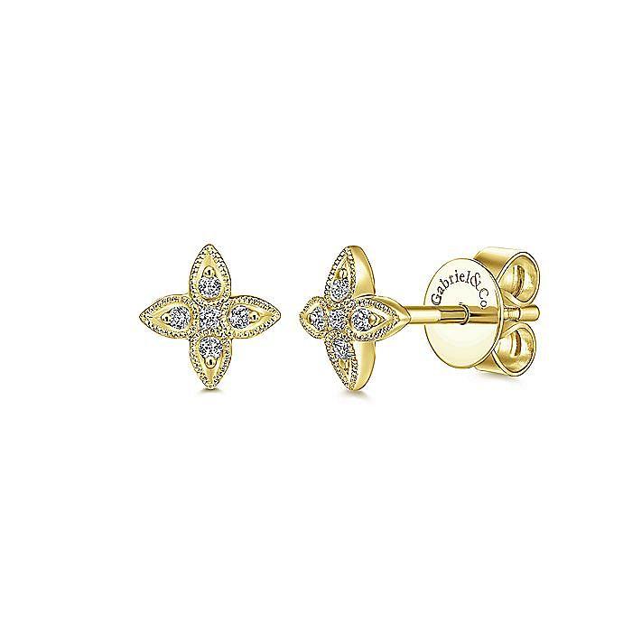 14K Yellow Gold Flower Diamond Stud Earrings