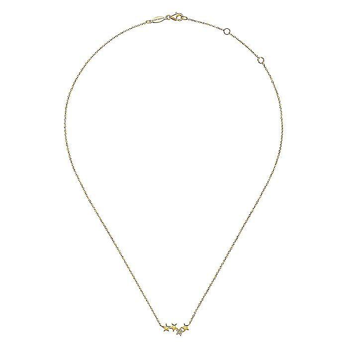 14K Yellow Gold Four Star Diamond Bar Necklace