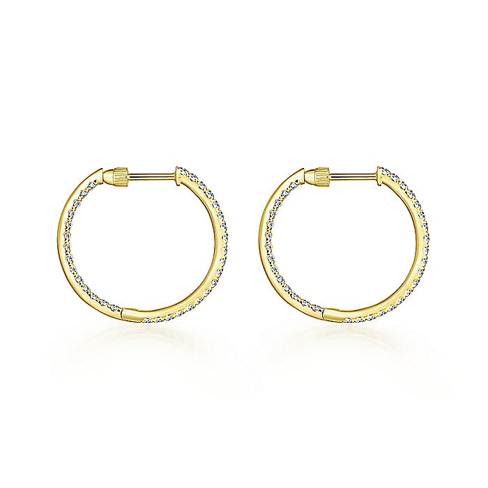 14K Yellow Gold French Pavé 20mm Round Inside Out Diamond Hoop Earrings