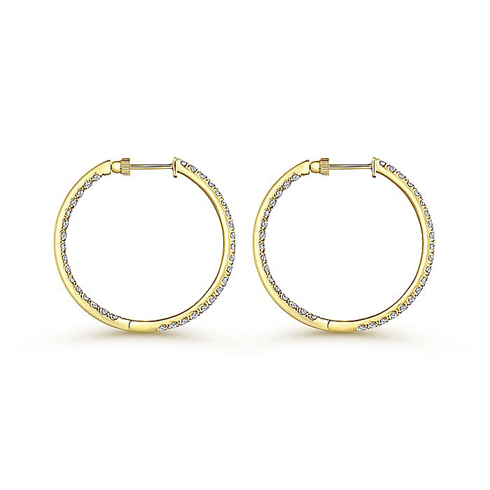 14K Yellow Gold French Pavé 30mm Round Inside Out Diamond Hoop Earrings