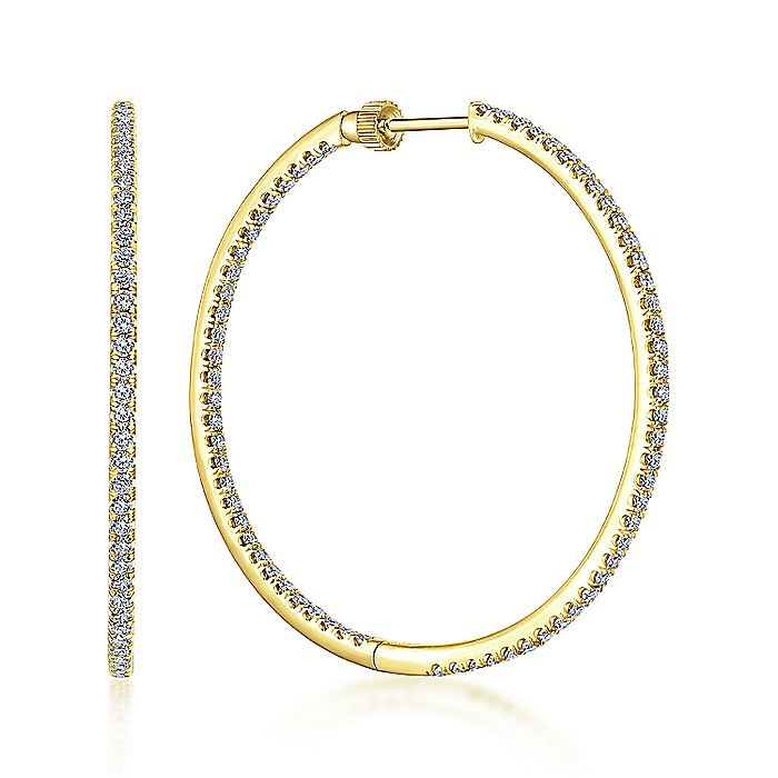 14K Yellow Gold French Pavé 40mm Round Inside Out Diamond Hoop Earrings